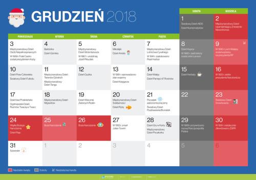 Kalendarz na grudzień 2018