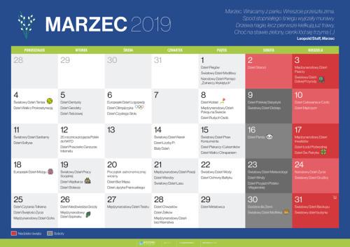 Kalendarz na marzec 2019