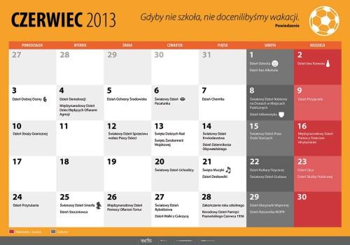 Kalendarz na czerwiec 2013