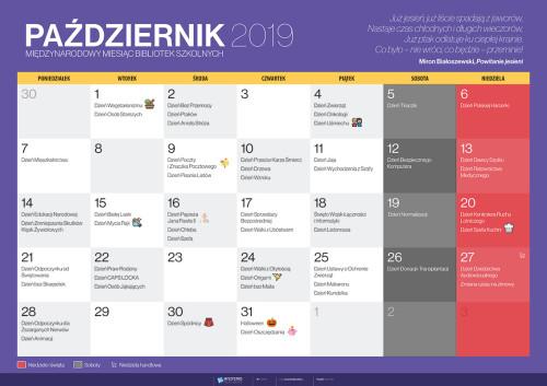 Kalendarz na październik 2019