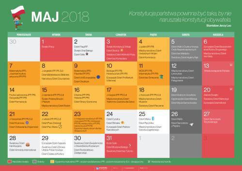 Kalendarz na maj 2018