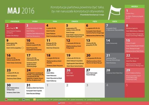 Kalendarz na maj 2016