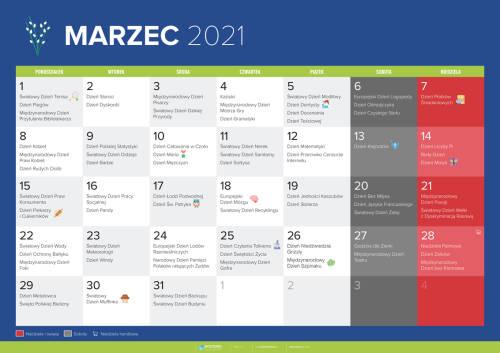 Kalendarz na marzec 2021