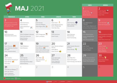 Kalendarz na maj 2021