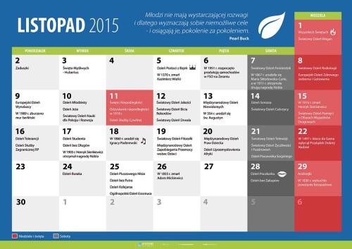 Kalendarz na listopad 2015
