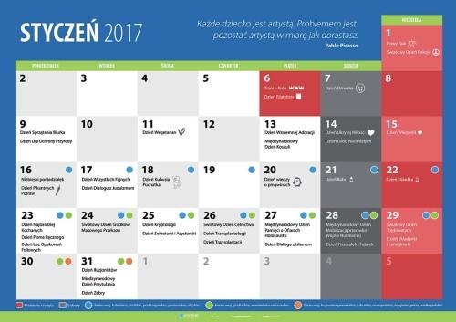 Kalendarz na styczeń 2017