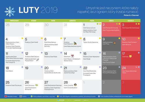 Kalendarz na luty 2019