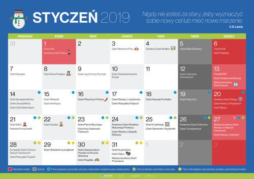 Kalendarz na styczeń 2019