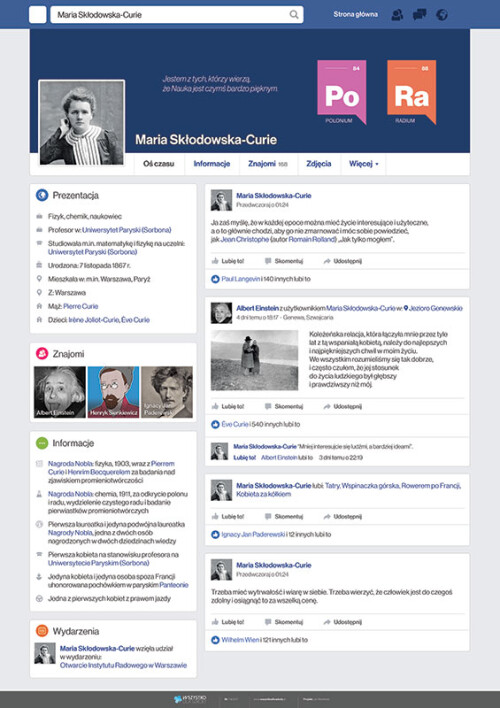 Maria Skłodowska-Curie na facebooku