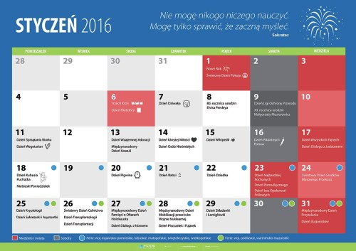 Kalendarz na styczeń 2016