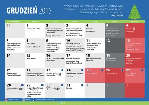 Kalendarz na grudzień 2015