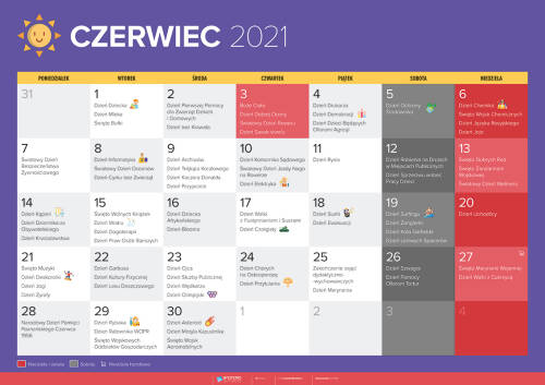 Kalendarz na czerwiec 2021