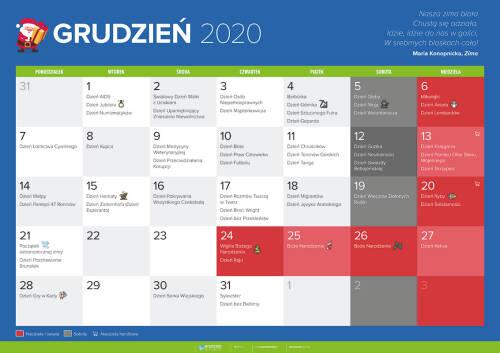 Kalendarz na grudzień 2020