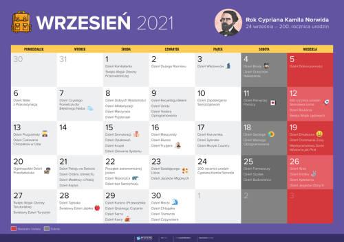 Kalendarz na wrzesień 2021
