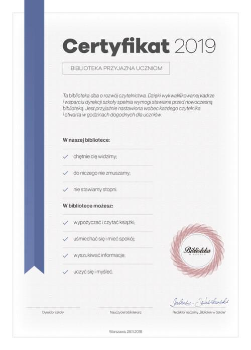 Certyfikat 2019 - Biblioteka przyjazna uczniom