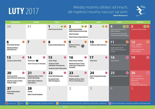 Kalendarz na luty 2017