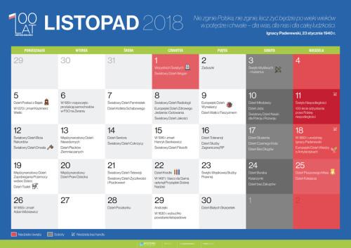 Kalendarz na listopad 2018