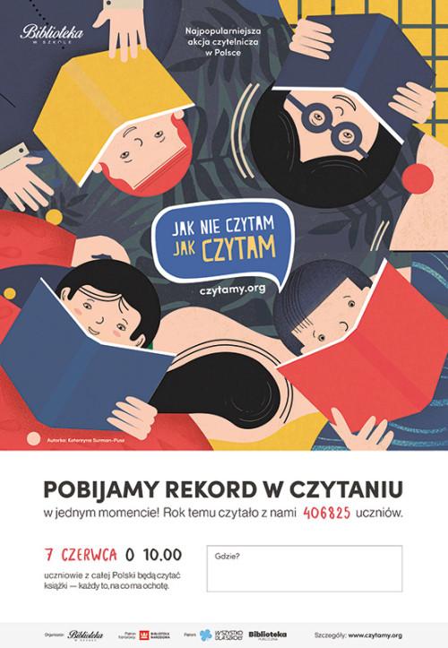 """Plakat akcji """"Jak nie czytam, jak czytam"""""""