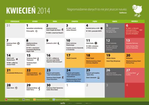 Kalendarz na kwiecień 2014