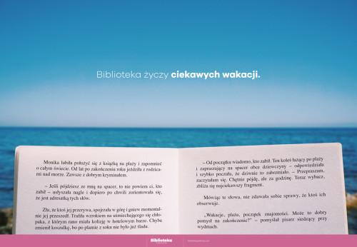 Plakat: Biblioteka życzy ciekawych wakacji