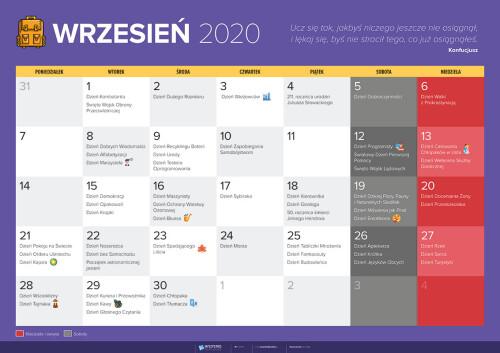 Kalendarz na wrzesień 2020