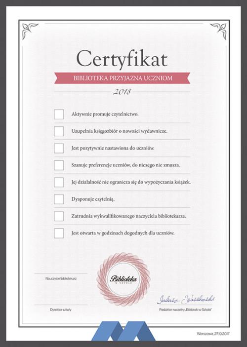 Certyfikat 2018 - Biblioteka przyjazna uczniom