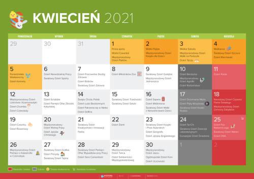Kalendarz na kwiecień 2021
