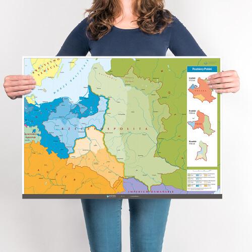 Mapa - rozbiory Polski