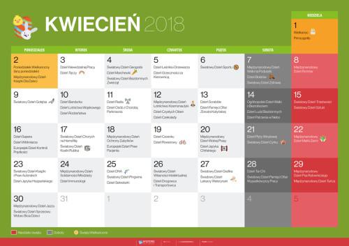 Kalendarz na kwiecień 2018