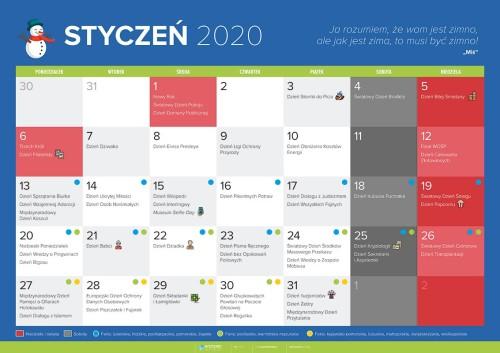 Kalendarz na styczeń 2020