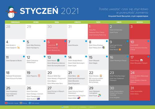 Kalendarz na styczeń 2021