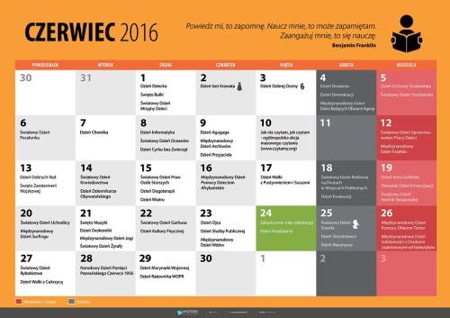 Kalendarz na czerwiec 2016