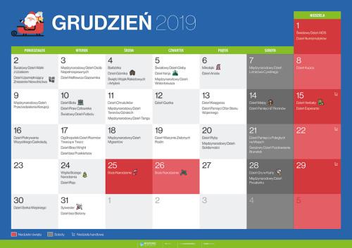 Kalendarz na grudzień 2019