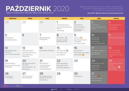 Kalendarz na październik 2020