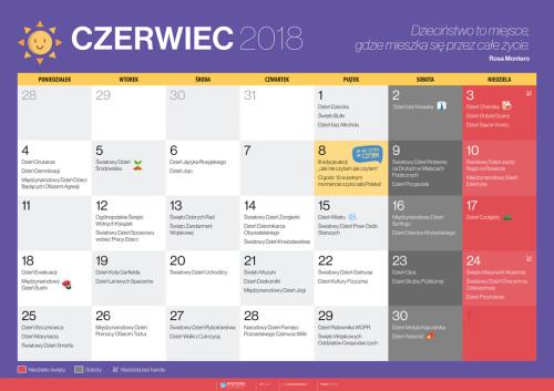 Kalendarz na czerwiec 2018