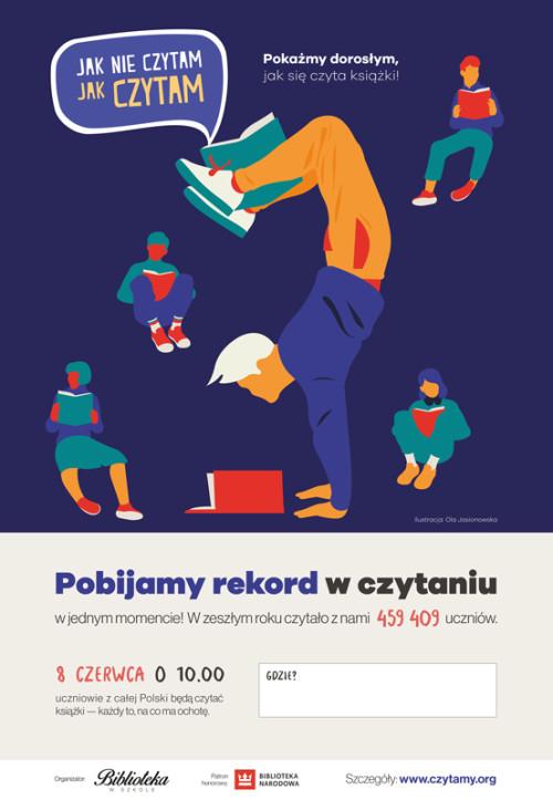 """Plakat akcji """"Jak nie czytam, jak czytam!"""""""