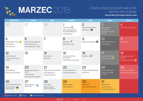 Kalendarz na marzec 2018