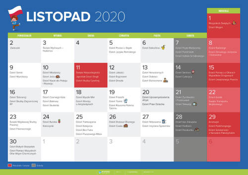 Kalendarz na listopad 2020