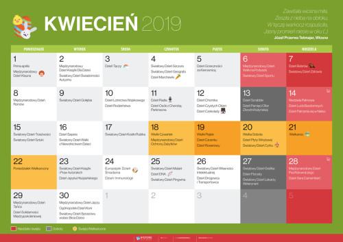 Kalendarz na kwiecień 2019