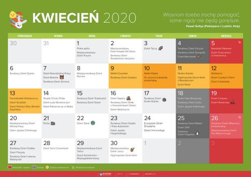 Kalendarz na kwiecień 2020
