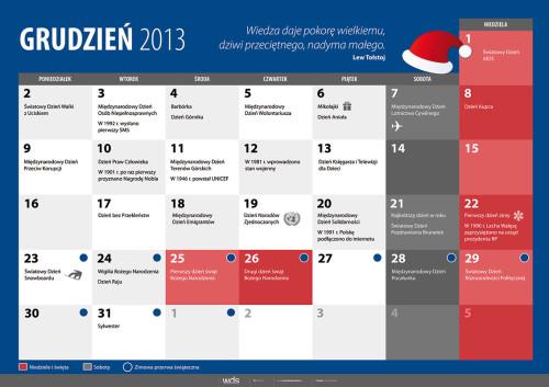Kalendarz na grudzień 2013