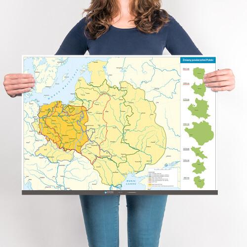 Mapa - zmiany powierzchni Polski