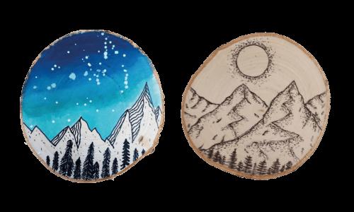 Zimowy obrazek  na drewnianym krążku