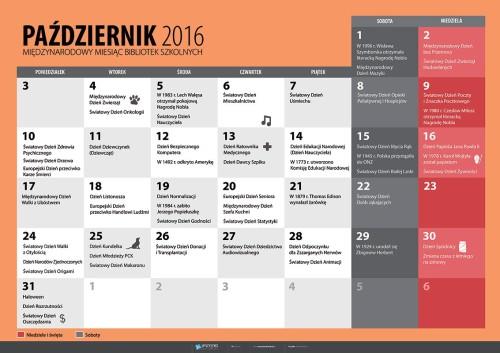 Kalendarz na październik 2016