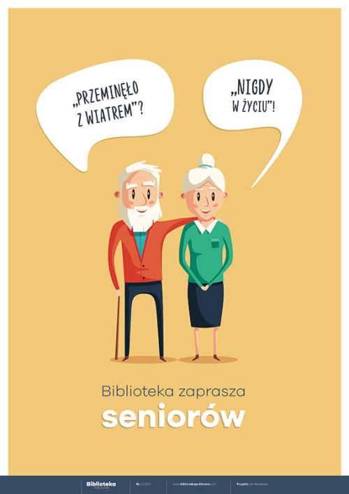 Plakat: Biblioteka zaprasza seniorów