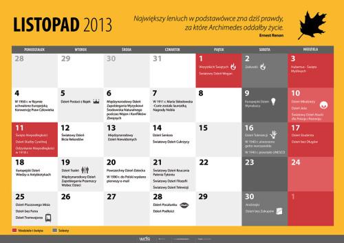 Kalendarz na listopad 2013