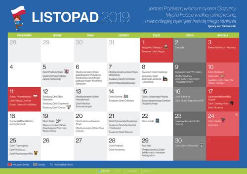 Kalendarz na listopad 2019
