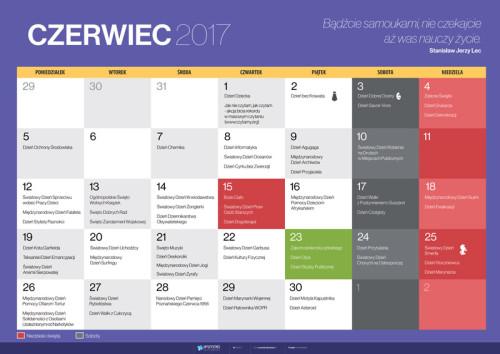 Kalendarz na czerwiec 2017