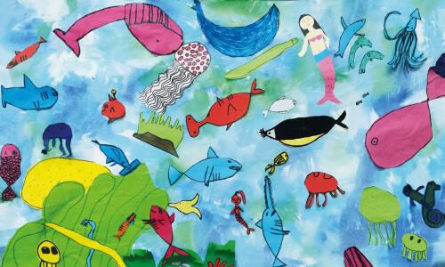 Tajemnice podwodnego świata  – barwienie papieru bibułą